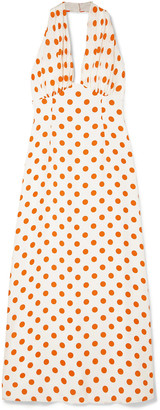Emilia Wickstead Polka-dot Silk Halterneck Maxi Dress