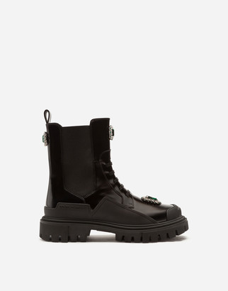 Dolce & Gabbana Polished Calfskin Combat Boots With Bejeweled Embroidery