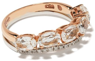Brumani 18kt rose and white gold Looping diamond and quartz ring