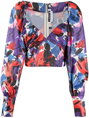 Rotate by Birger Christensen Abstract Print Sweetheart Neck Blouse