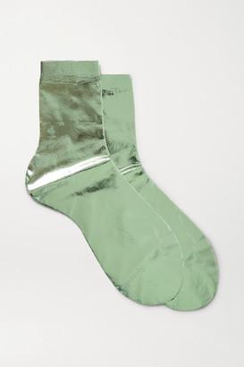 Maria La Rosa Metallic Coated Silk-blend Socks - Green