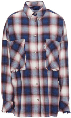 IRO Baswya Frayed Checked Cotton-flannel Shirt