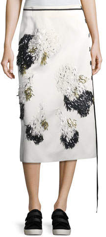 Derek Lam Embellished Side-Button Midi Skirt