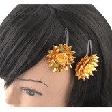 CrayonFlakes Kids Girls Golden Floral Tic Tac/Hair Pin/Hair Clip Set of 2