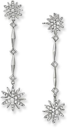 David Yurman Starburst Long Drop Earrings in Sterling Silver with Diamonds