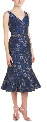 JS Collections Women's Jacquard Fit and Flare Three-Quarter Length Cocktail Dress