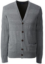 Lands' End Men's Supima Placed Texture Cardigan-Gray Heather