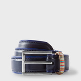 Paul Smith Boys' 7+ Years Navy Leather Belt With Striped Keeper