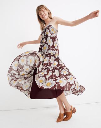 Madewell Braided-Strap Tier Midi Dress in Metallic Big Time Blooms