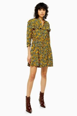 Topshop Womens Idol Agadir Paisley Ruffle Mini Shirt Dress - Mustard