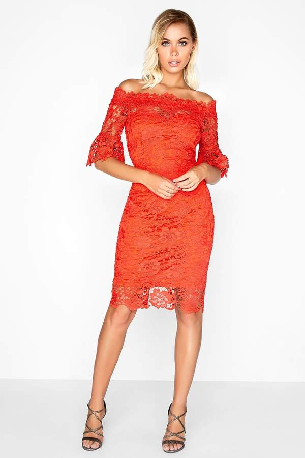 792149250a22f Red Sheer Lace Dresses - ShopStyle UK