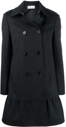 RED Valentino Ruffled-Hem Double-Breasted Coat
