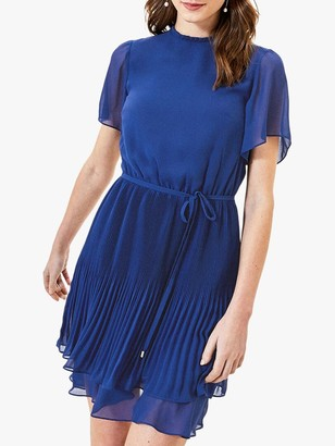 Oasis Pleated Skater Mini Dress, Rich Blue
