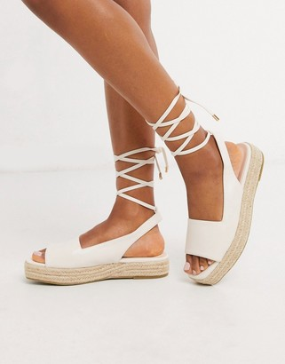 Raid Vinny straight cut espadrille sandals with ankle ties in white