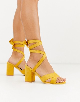 Park Lane tie leg block heeled sandals-Yellow