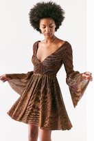 Ecote Starstruck Glitter Bell-Sleeve Mini Dress