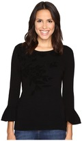 Ellen Tracy Bell Sleeve Flocked Sweater