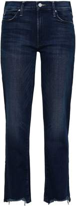 Mother Frayed High-rise Straight-leg Jeans