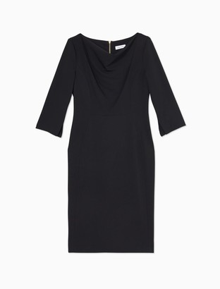 Calvin Klein Solid Cowl Neck 3/4 Sleeve Sheath Dress