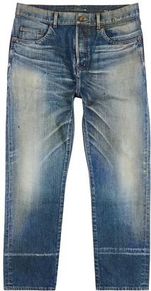 Saint Laurent Blue distressed straight-leg jeans