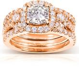 Kobelli Jewelry 2 4/9 CT TW Forever One Moissanite and Diamond 14K Rose Gold 3-Piece Halo Bridal Set
