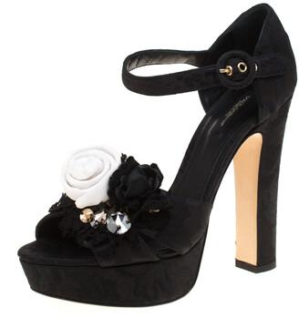 Dolce & Gabbana Black Brocade Fabric Floral Embellished Cross Strap Platform Sandals Size 40