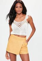 Missguided Yellow Bonded Faux Suede Skort