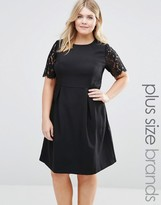 Koko Plus Pencil Dress With Lace Sleeves