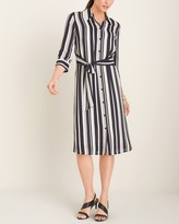 Chico's Chicos Striped Woven Tie-Detail Shirt Dress