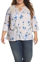 Lucky Brand Plus Size Women's Lace Yoke Floral Peasant Top