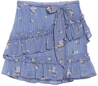 Planet Gold Floral Tiered Ruffle Skirt