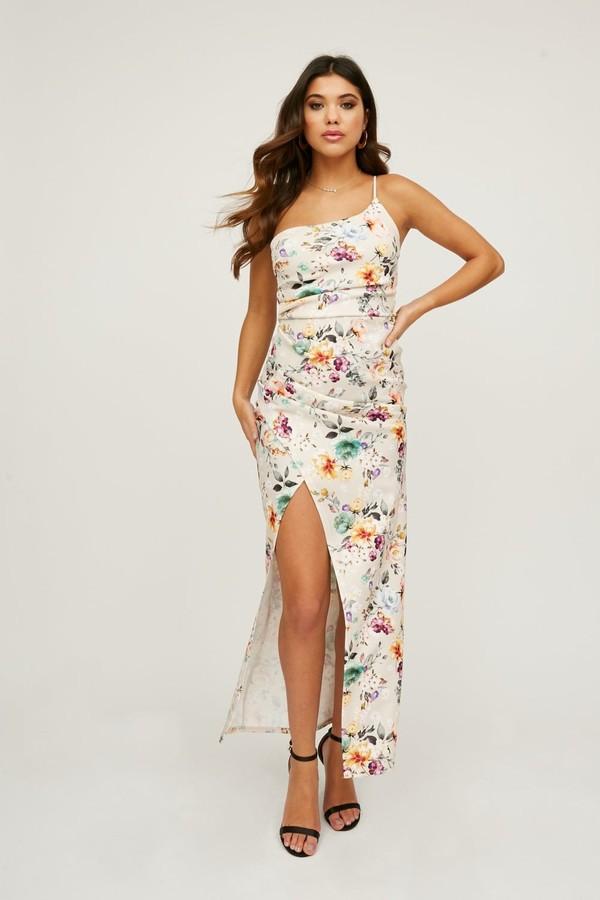 Little Mistress Oakley Floral-Print One-Shoulder Maxi Dress