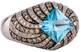 Ring 14K Topaz & Diamond Pavé