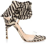 Gianvito Rossi Zebra-Stripe PVC & Silk Sandals