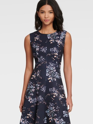 DKNY Women's Sleeveless Floral Fit-and-flare Dress - Midnight Multi - Size 8