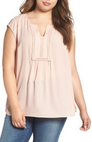 Daniel Rainn Plus Size Women's Embroidered Yoke Cap Sleeve Blouse