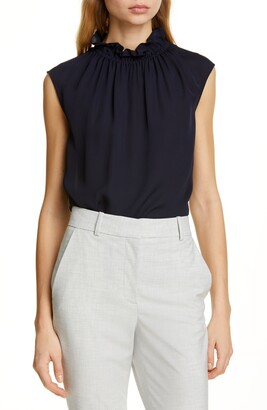 Rebecca Taylor Tailored by Ruffle Neck Silk Georgette Top