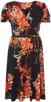 Dorothy Perkins **Tall Oriental Floral Wrap Fit and Flare Dress