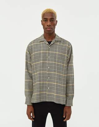 Gitman Brothers Houndstooth Camp Collar Shirt in Black