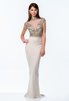 Terani Couture Beaded High Neck Sheath Gown 151M0352B