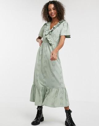 Asos DESIGN ruffle broderie midi dress in sage green