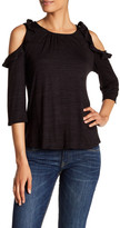 Gibson Ruffle Long Sleeve Cold Shoulder Shirt
