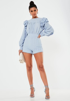 Missguided Petite Blue Frill Sleeve Blouson Playsuit