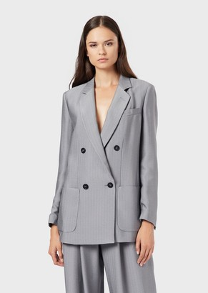 Emporio Armani Crepe Double-Breasted Jacket With Micro-Chevron Motif