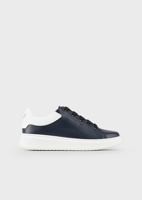 Emporio Armani Nappa Leather Sneakers With Contrasting Back