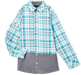 Beverly Hills Polo Club Electric Green Plaid Contrast-Trim Button-Up - Toddler & Boys