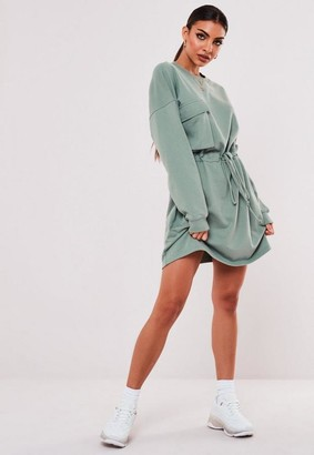 Missguided Mint Tie Waist Pocket Sweater Dress