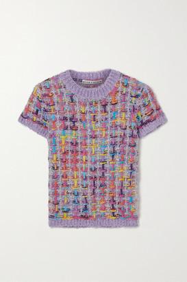 Alice + Olivia Ciara Cropped Metallic Knitted Sweater