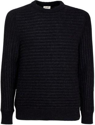 Saint Laurent Striped Jacquard Knit Wool Blend Sweater