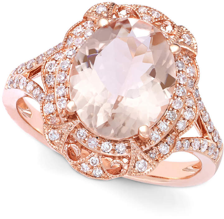 Effy Blush by Morganite (3-1/8 ct. t.w.) and Diamond (1/4 ct. t.w.) Oval Ring in 14k Rose Gold